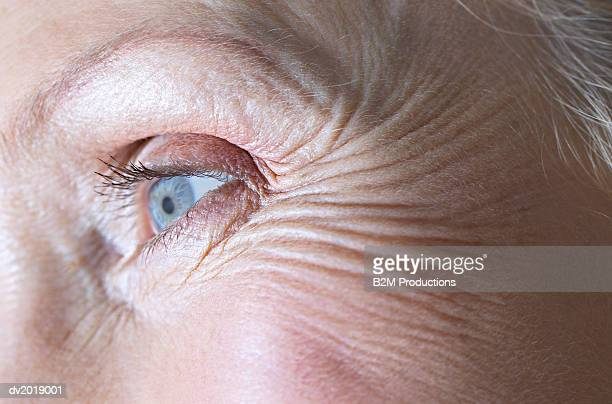 Full-Frame Close-Up of a Senior Woman's Eye
