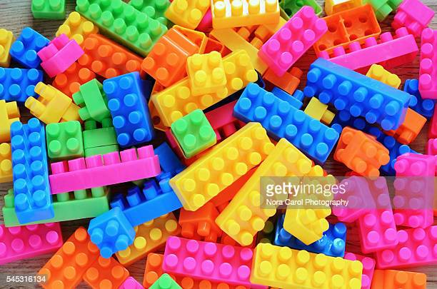 Fullframe image of colorful plastic toy block