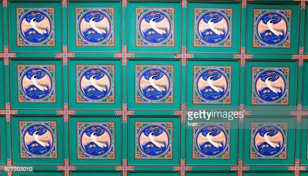 fulll frame texture, the crane tile with asian style pattern - korean culture stock pictures, royalty-free photos & images