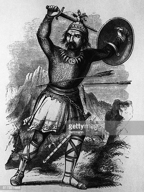 Fulllength engraving of Mongol conqueror Genghis Khan with sword raised Under his rule the Mongols captured Peking Iran Iraq and part of Russia...