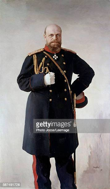 Fulllength portrait of Alexander III Emperor of Russia Painting by Valentin Serov 1895 Peterhof Castle Saint Petersburg Russia