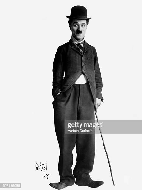 Fulllength portrait of Charlie Chaplin in costume