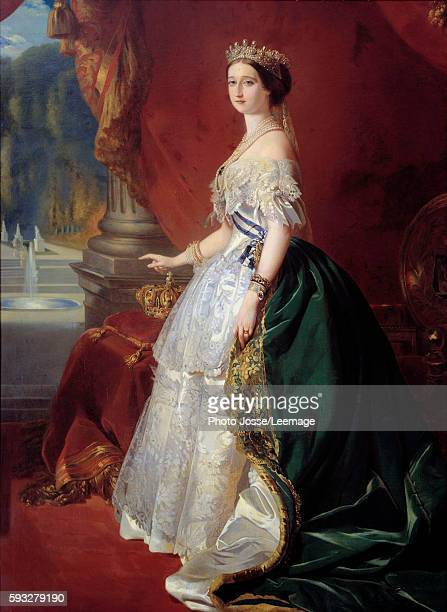 Full-length portrait of Empress Eugenie in court dress. Painting after Franz Xaver Winterhalter 19th century. Private collection