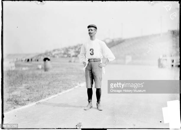 Fulllength portrait of Felix Carvajal de Soto Cuban athlete who competed in the marathon standing on the track of an athletic field in St Louis...