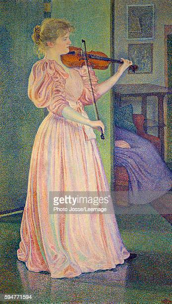 Fulllength portrait of Irma Sethe playing violin Painting by Theo van Rysselberghe Belgian School 1894 Oil on canvas 194 x 117 m Petit Palais Museum...