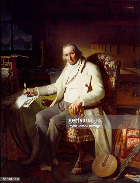 Fulllength portrait of Joseph Marie Jacquard inventor of the mechanical loom Painting by Claude Bonnefond 1834 Oil on canvas BeauxArts Museum Lyon...