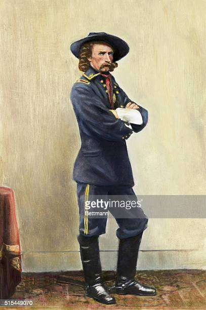 Fulllength portrait of Major General George Armstrong Custer Handcolored photograph