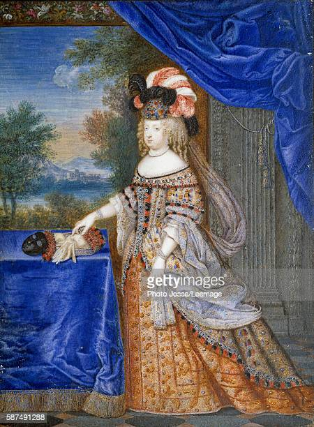 Fulllength portrait of Maria Theresa of Spain in a Polish costume Queen of France Swiss Painting by Joseph Werner the Younger 1664 Gouache on...