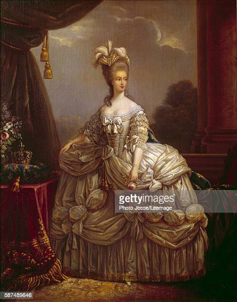 Fulllength portrait of Marie Antoinette de Lorraine Habsburg Queen of France Painting by Marie Elisabeth Louise VigeeLebrun 18th century National...