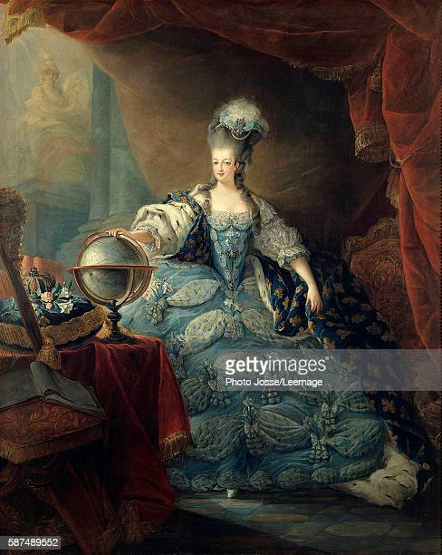 Fulllength portrait of Marie Antoinette de Lorraine Habsburg said Portrait with the Globe Marie Antoinette Queen of France is represented in 1775 in...