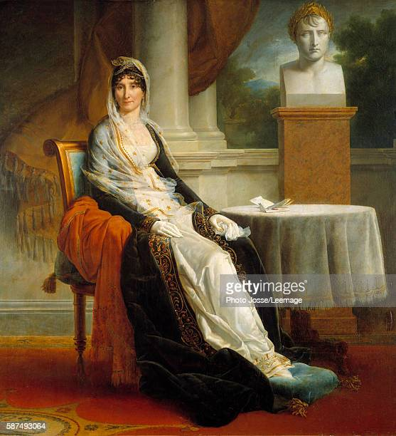 Fulllength portrait of Marie Laetitia Ramolino 'Madame Mere' posing near the bust of her son Emperor Napoleon I Painting by Francois Pascal Simon...