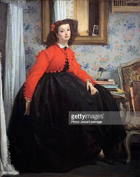 Fulllength portrait of Miss LL or Young woman in a red jacket Painting by Jacques Joseph Tissot called James Tissot 1864 124 x 099 m Orsay Museum...