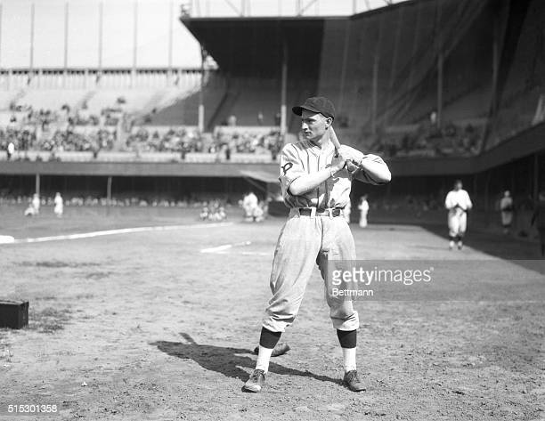 Full-length portrait of Pittsburgh Pirates' Lloyd Waner, in uniform and batting stance. Undated photograph.