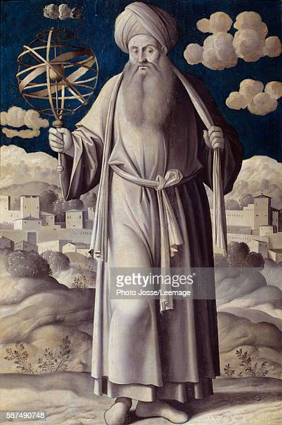 Fulllength portrait of Ptolemy Greek astronomer Painting by Girolamo Mocetto 1531 Jacquemart Andre Museum Paris