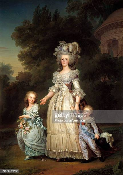 Fulllength portrait of Queen Marie Antoinette of France with MarieTherese or Madame Royale and the first Dauphin Louis Joseph Xavier Francois or...