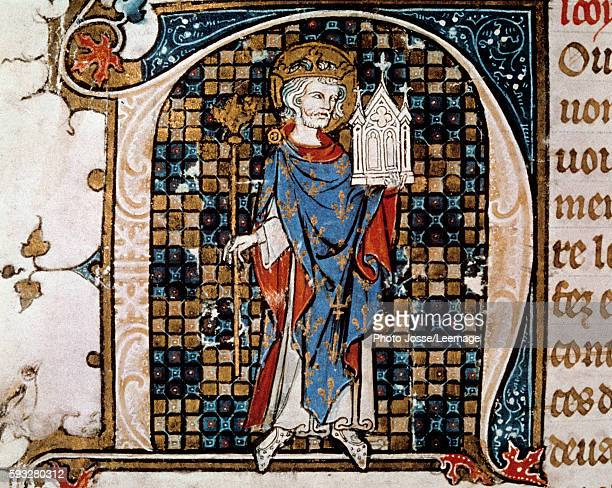 Fulllength portrait of St Louis carrying the model of the SainteChapelle Miniature from 'Chronicles of SaintDenis' by Antoine Verard 1493...