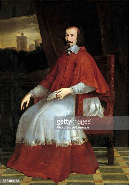 Fulllength portrait of the Cardinal Jules Mazarin The Cardinal's sitting Behind him a view of the Castle of Vincennes Painting by Philippe de...