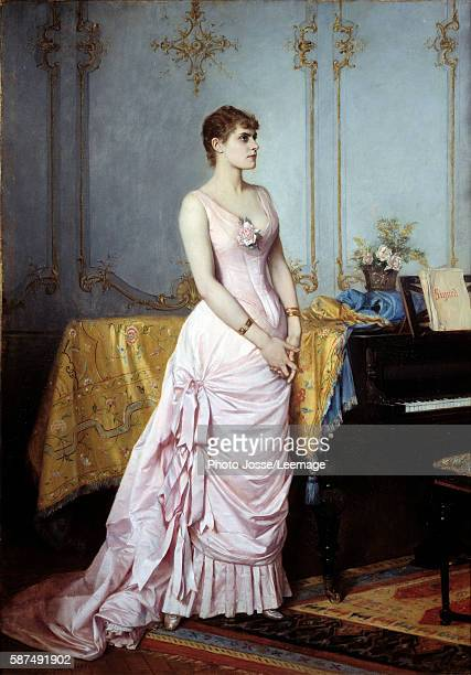 Fulllength portrait of the singer Rose Caron Painting by Auguste Toulmouche 1886 Oil on canvas 082 x 058 m Carnavalet Museum Paris