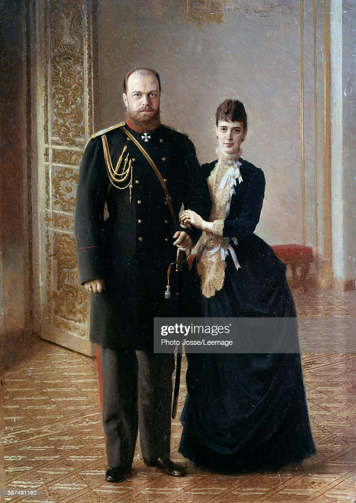 Portrait of Tsar Alexander III of Russia with his wife Maria Fedorovna by Ivan Nikolaevich Kramskoi : News Photo