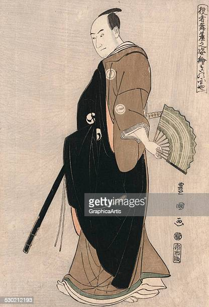 Fulllength profile of the actor Sawamura Sanjro III in the role of Oboshi Yuranosuke by Utagawa Toyokuni 1794 From the series 'Portraits of Actors'