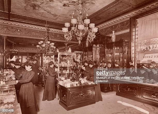 Fulllength view of women perusing the counters and display cases at Henry Maillard's Retail Confectionery and Ladies' Lunch Establishment during...
