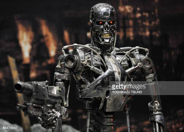 A fullscale figure of a terminator robot T800 used at the movie Terminator 2 is displyed at a preview of the Terminator Exhibition in Tokyo on March...