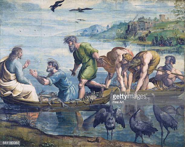 Fullscale painting for The Miraculous Draught of Fishes tapestry Circa 151516 by Raphael and assistants Bodycolor over charcoal underdrawing on paper...