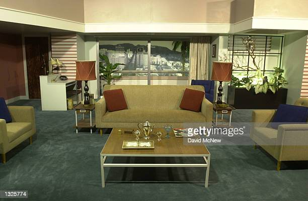 """Full-scale replica of the original Hollywood apartment set from the """"I Love Lucy"""" show is displayed as part of an exhibition celebrating the 50th..."""