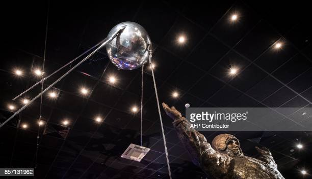 A fullscale replica of the world's first artificial satellite Sputnik launched by the Soviet Union from a testing range in Kazakhstan on October 4 is...
