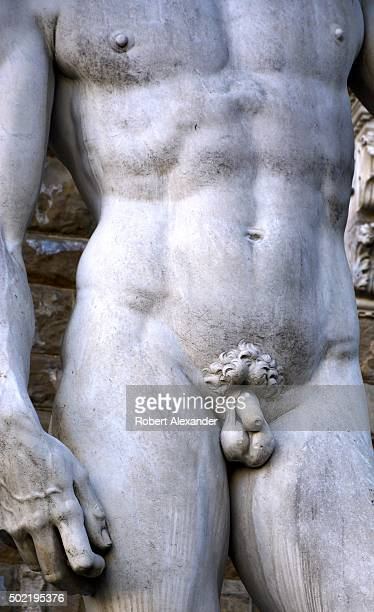 A fullsize copy of Michelangelo's marble statue of the Biblical hero David with an uncircumcised penis stands in the Piazza della Signoria beside the...