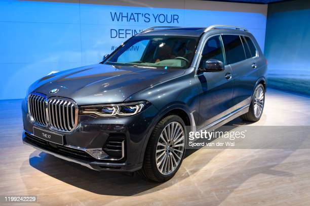 Fullsize luxury SUV on display at Brussels Expo on January 9, 2020 in Brussels, Belgium. The BMW X7 s available in Design Pure Excellence and M Sport...