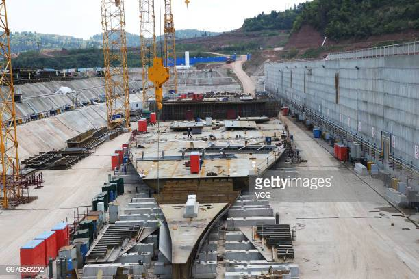 A fullsize replica of Titanic is under construction at Daying County on April 12 2017 in Suining Sichuan Province of China The replica ship measures...