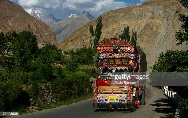 A fully decorated Pakistani truck makes it way along the Karakoram highway on July 11 2007 in central Hunza valley Pakistan Pakistani truckers...
