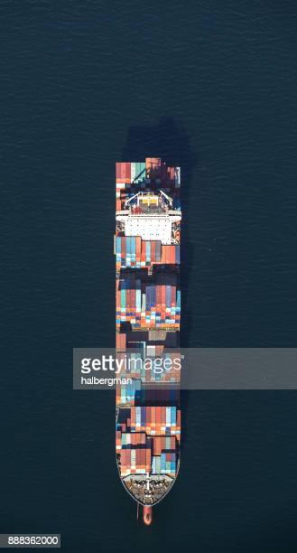 Fully Loaded Cargo Ship Out on the Ocean