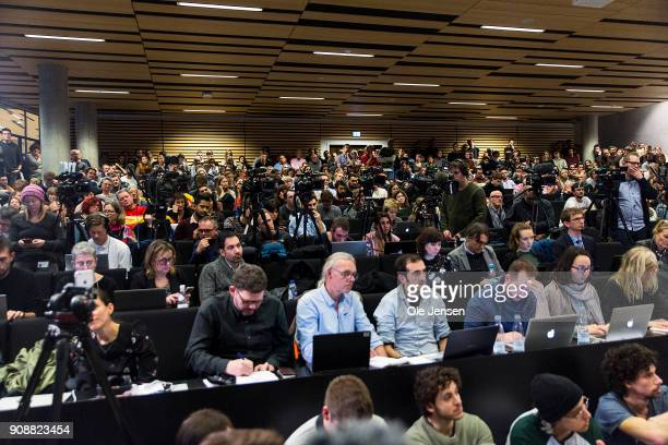 A fully packed lecture hall listen to Spanish separatist leader Carles Puigdemont during a conference at Copenhagen University during his first visit...