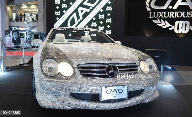 Fully Swarovski covered Mercedes displayed at GARSON booth during Tokyo Auto Salon 2018 at Makuhari Messe on January 12 2018 in Chiba Japan