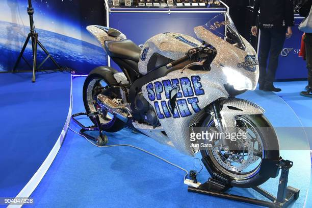 Fully Swarovski covered motor bike displayed at Sphere Light booth during Tokyo Auto Salon 2018 at Makuhari Messe on January 12 2018 in Chiba Japan