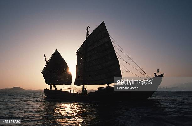 A fullyloaded coal junk sails outside Xiamen in Fujian province