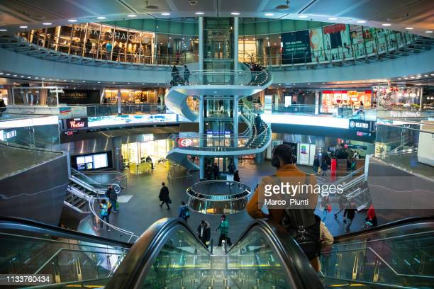 fulton center nyc subway station in downtown - shopping centre stock photos and pictures