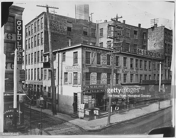 Fulton Street New York New York 1895 George P Hall's studio visible