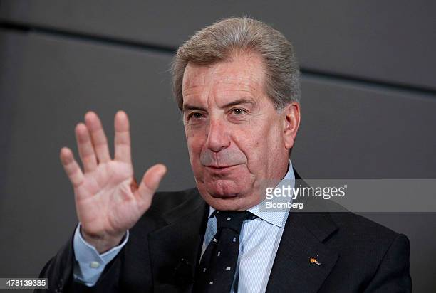 Fulvio Conti chief executive officer of Enel SpA gestures during a television interview ahead of a news conference to announce the company's...