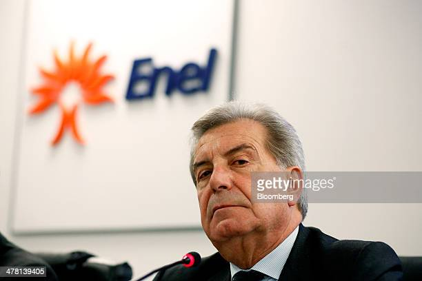 Fulvio Conti chief executive officer of Enel SpA pauses during a news conference to announce the company's financial results in Rome Italy on...