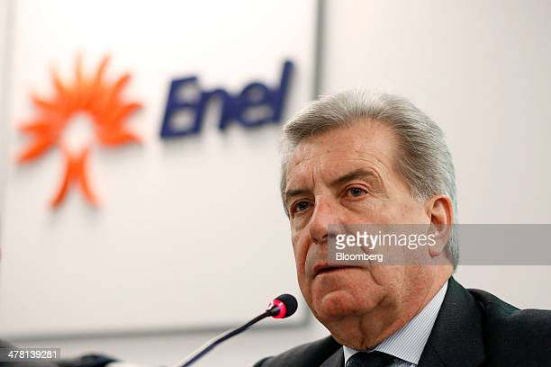 Fulvio Conti chief executive officer of Enel SpA speaks during a news conference to announce the company's financial results in Rome Italy on...