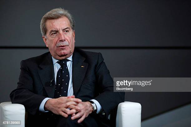 Fulvio Conti chief executive officer of Enel SpA speaks during a television interview ahead of a news conference to announce the company's financial...
