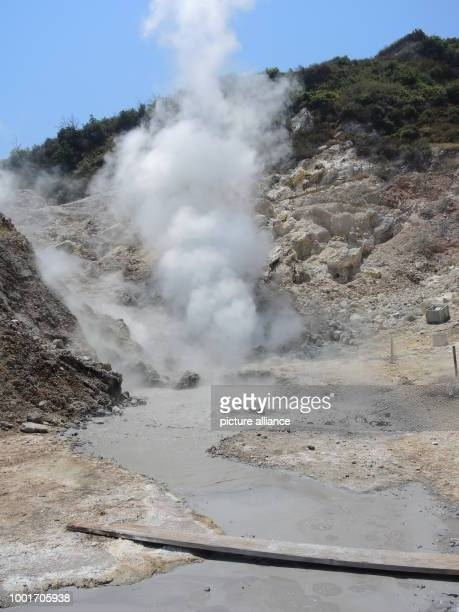 A fumarole and a grey pond created by volcanic activity can be seen in the Phlegraean Fields in the West of Naples Italy 16 June 2017 The Phlegraean...
