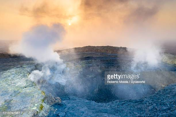 fumarole on erta ale volcano crater, danakil, afar, ethiopia, africa - volcanic crater stock pictures, royalty-free photos & images