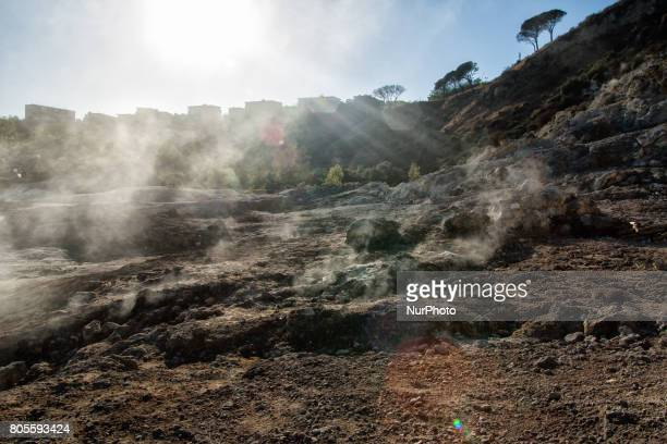 Fumarole Solfatara di Pozzuoli Italy on June 29/2017 is one of the forty volcanoes that make up the Flegrei Fields and is located about three...