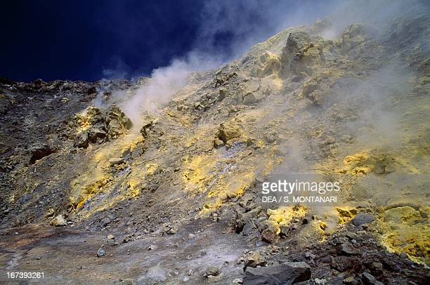 Fumaroles from the Gran Cratere on the island of Vulcano Aeolian Islands Sicily Italy
