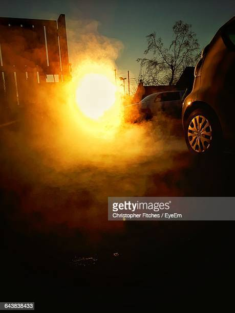 Fumes From Car Against Sky At Morning