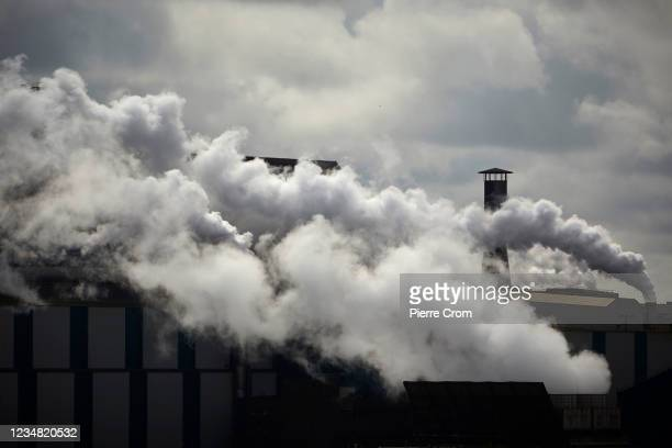 Fumes from the Tata Steel plant are seen on August 20, 2021 in Wijk aan Zee, Netherlands. The Tata steel plant is under investigation by the Dutch...